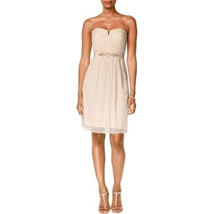 Adrianna Papell Strapless Tulle Dress Almond NEW